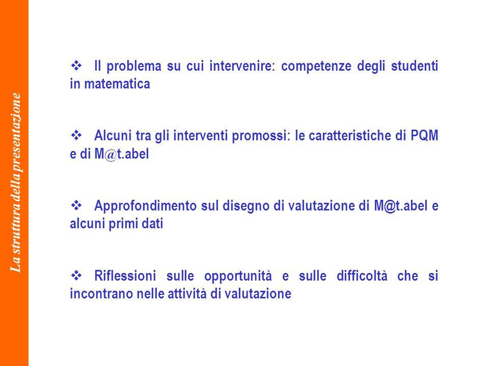 La struttura della presentazione Il problema su cui intervenire: competenze degli studenti in matematica Alcuni tra gli interventi promossi: le caratt