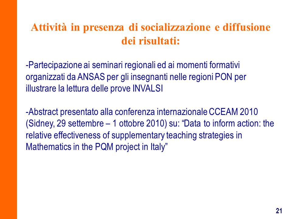 21 Attività in presenza di socializzazione e diffusione dei risultati: -Partecipazione ai seminari regionali ed ai momenti formativi organizzati da AN