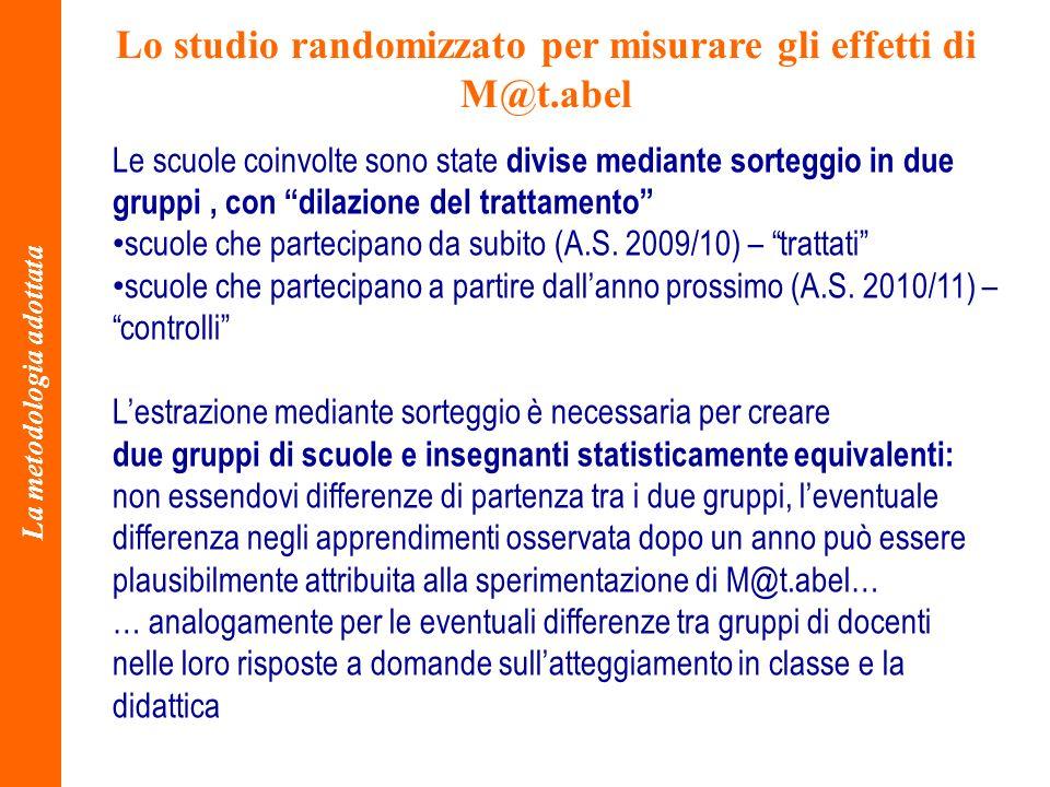 Lo studio randomizzato per misurare gli effetti di M@t.abel La metodologia adottata Le scuole coinvolte sono state divise mediante sorteggio in due gr