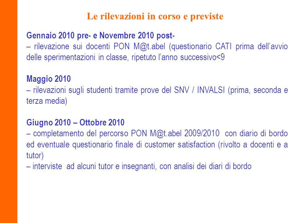 Le rilevazioni in corso e previste Gennaio 2010 pre- e Novembre 2010 post- – rilevazione sui docenti PON M@t.abel (questionario CATI prima dellavvio d