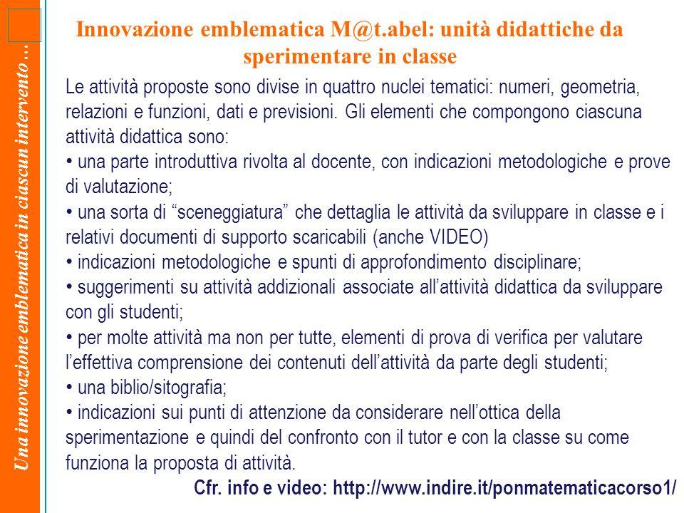 Una innovazione emblematica in ciascun intervento … Innovazione emblematica M@t.abel: unità didattiche da sperimentare in classe Le attività proposte