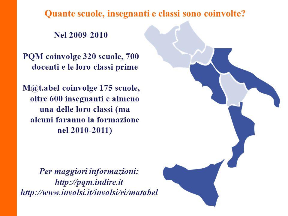 Nel 2009-2010 PQM coinvolge 320 scuole, 700 docenti e le loro classi prime M@t.abel coinvolge 175 scuole, oltre 600 insegnanti e almeno una delle loro