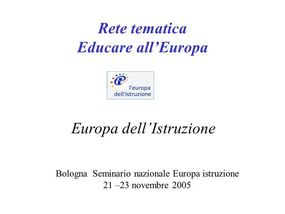 Rete tematica Educare allEuropa Bologna Seminario nazionale Europa istruzione 21 –23 novembre 2005 Europa dellIstruzione