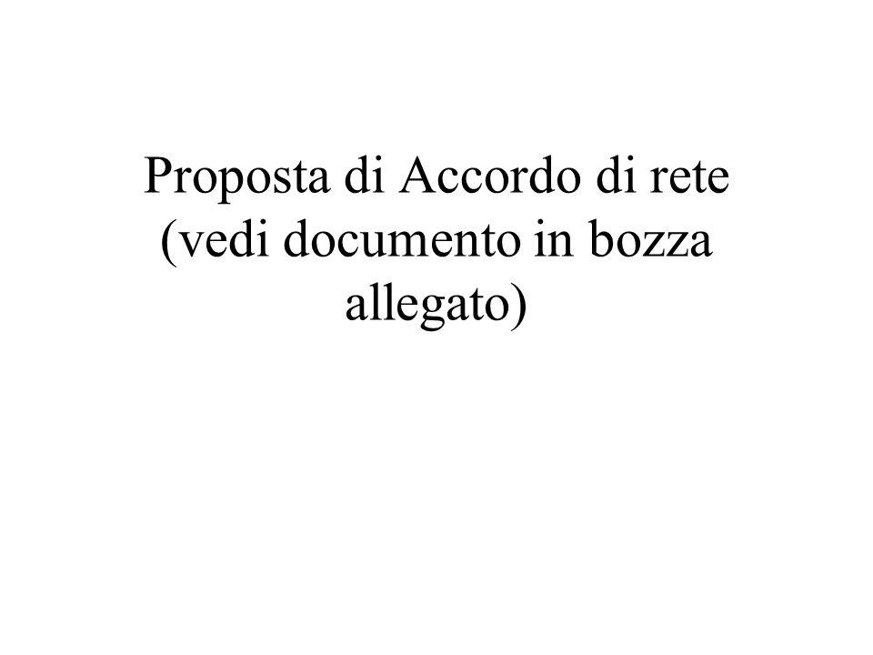 Proposta di Accordo di rete (vedi documento in bozza allegato)
