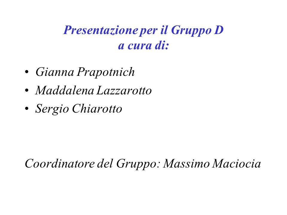 Presentazione per il Gruppo D a cura di: Gianna Prapotnich Maddalena Lazzarotto Sergio Chiarotto Coordinatore del Gruppo: Massimo Maciocia