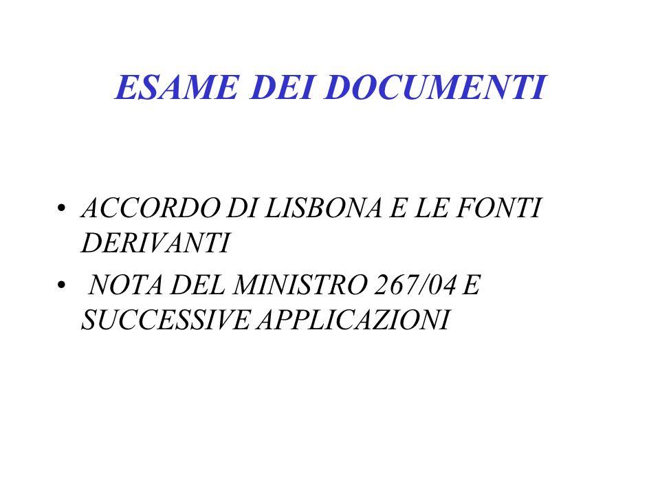 ESAME DEI DOCUMENTI ACCORDO DI LISBONA E LE FONTI DERIVANTI NOTA DEL MINISTRO 267/04 E SUCCESSIVE APPLICAZIONI