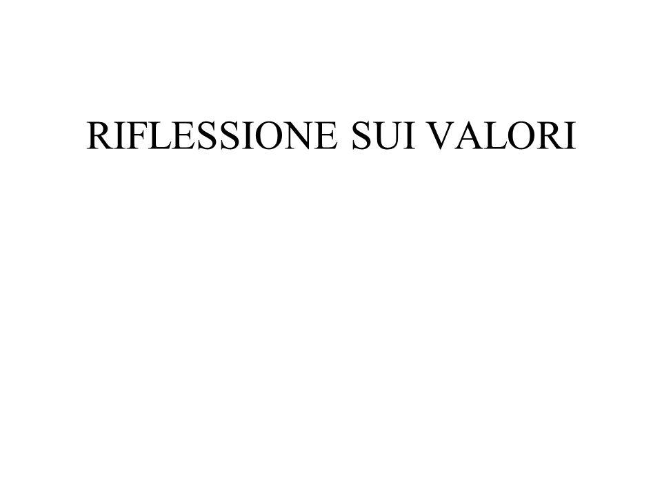 RIFLESSIONE SUI VALORI