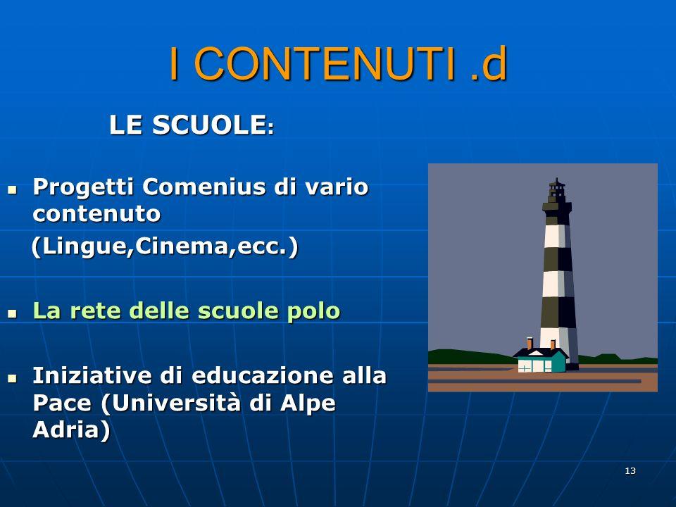 13 I CONTENUTI. d LE SCUOLE : Progetti Comenius di vario contenuto Progetti Comenius di vario contenuto (Lingue,Cinema,ecc.) (Lingue,Cinema,ecc.) La r
