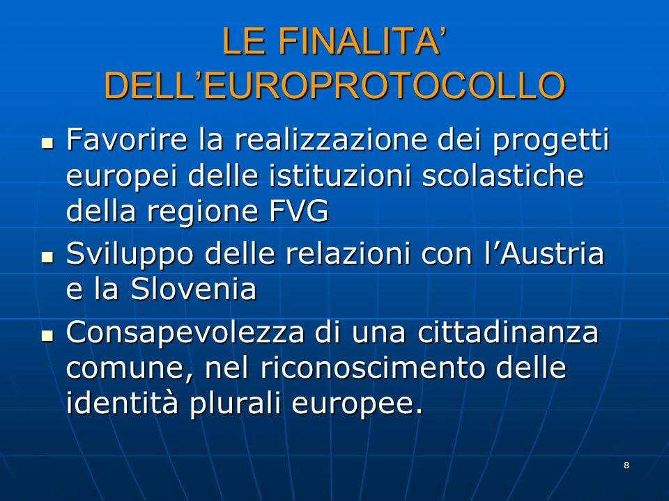 8 LE FINALITA DELLEUROPROTOCOLLO Favorire la realizzazione dei progetti europei delle istituzioni scolastiche della regione FVG Favorire la realizzazi