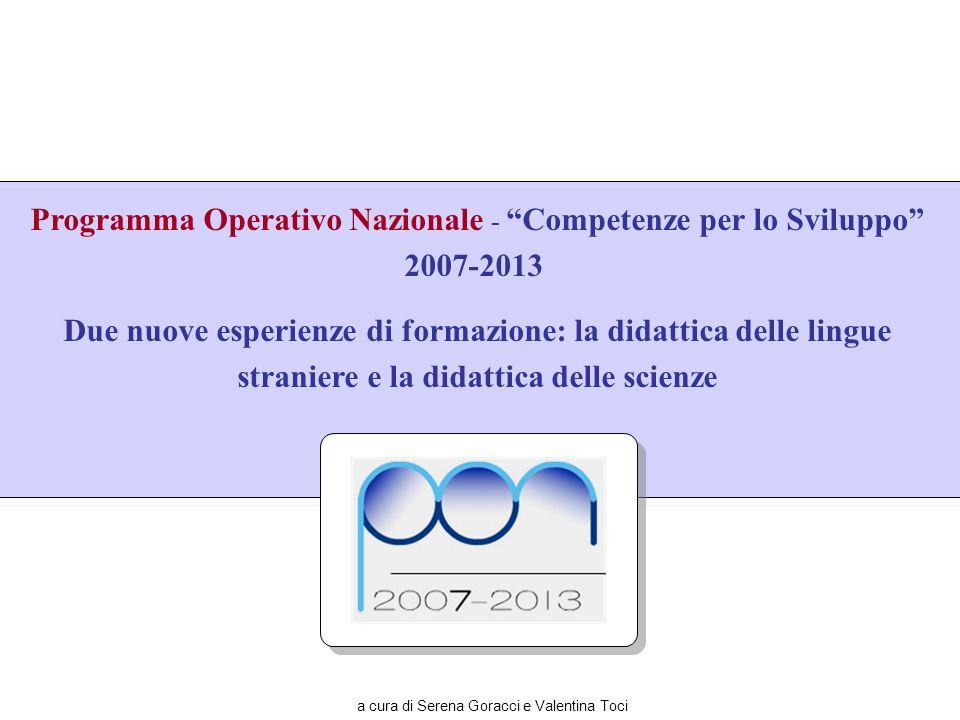 Programma Operativo Nazionale - Competenze per lo Sviluppo 2007-2013 Due nuove esperienze di formazione: la didattica delle lingue straniere e la dida