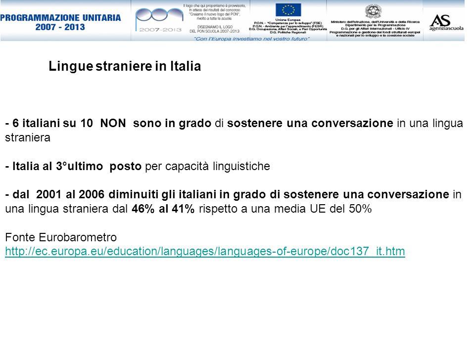 - 6 italiani su 10 NON sono in grado di sostenere una conversazione in una lingua straniera - Italia al 3°ultimo posto per capacità linguistiche - dal