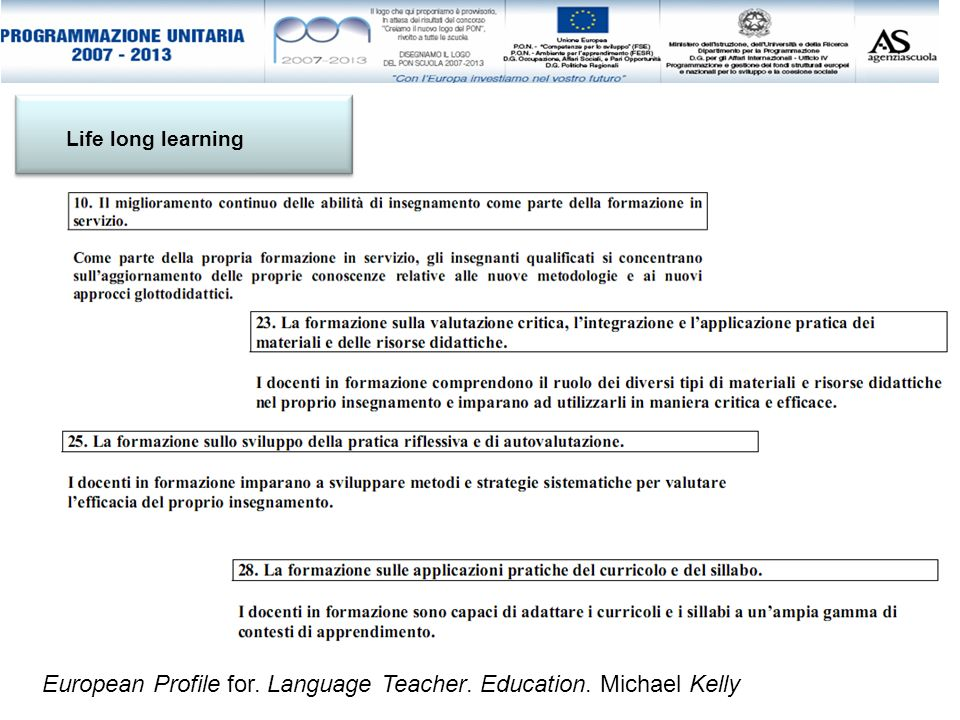 European Profile for. Language Teacher. Education. Michael Kelly Life long learning