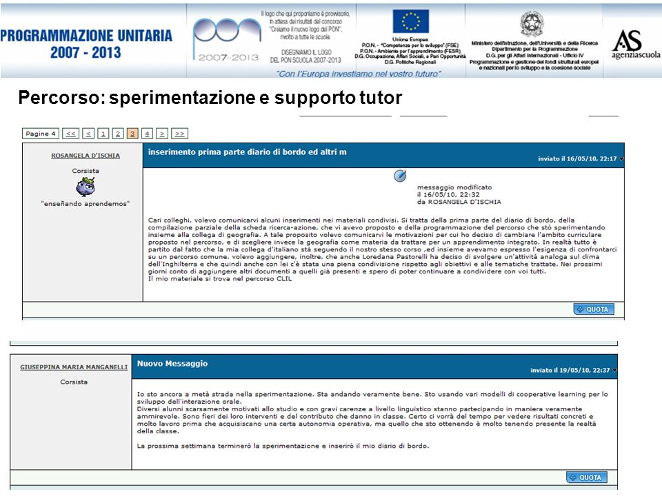 Percorso: sperimentazione e supporto tutor