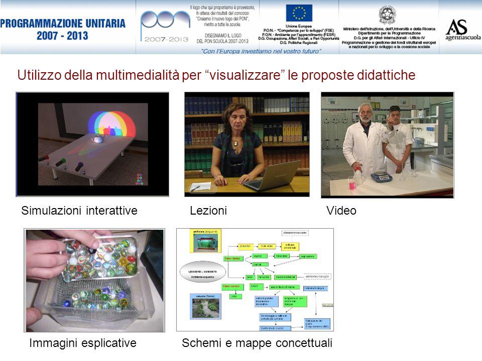 Utilizzo della multimedialità per visualizzare le proposte didattiche Simulazioni interattiveVideoLezioni Immagini esplicativeSchemi e mappe concettua