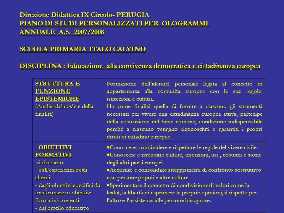 Direzione Didattica IX Circolo- PERUGIA PIANO DI STUDI PERSONALIZZATI PER OLOGRAMMI ANNUALE A.S. 2007/2008 SCUOLA PRIMARIA ITALO CALVINO DISCIPLINA :