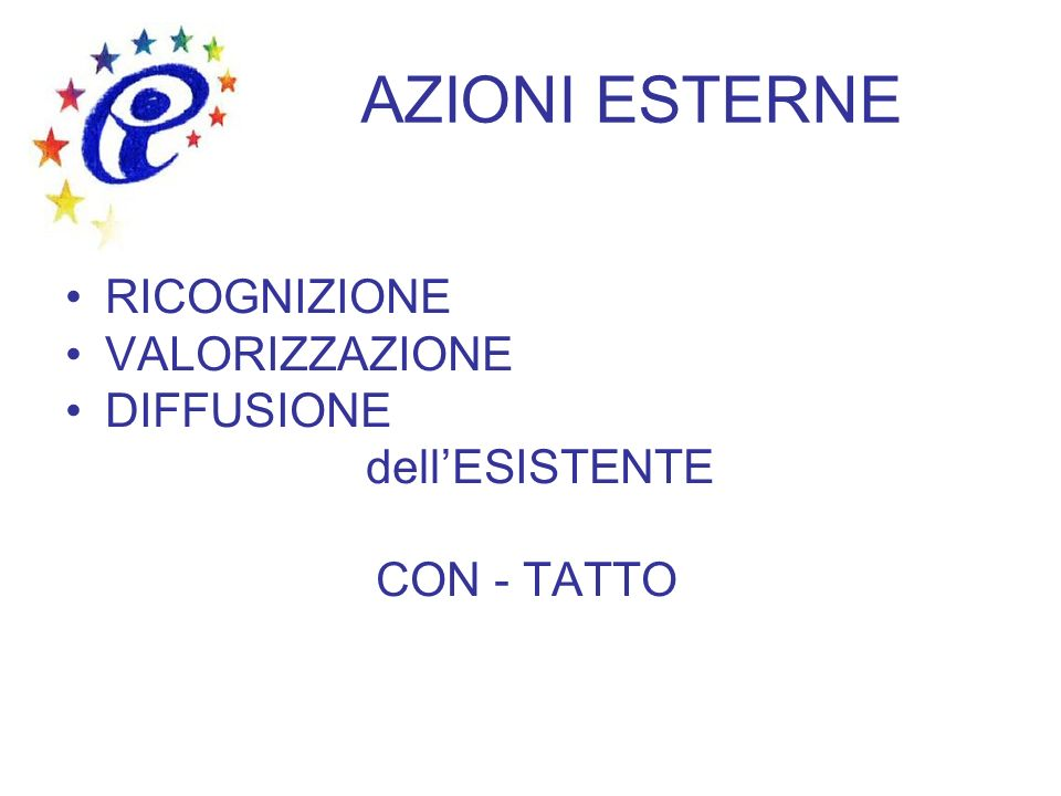 AZIONI ESTERNE RICOGNIZIONE VALORIZZAZIONE DIFFUSIONE dellESISTENTE CON - TATTO