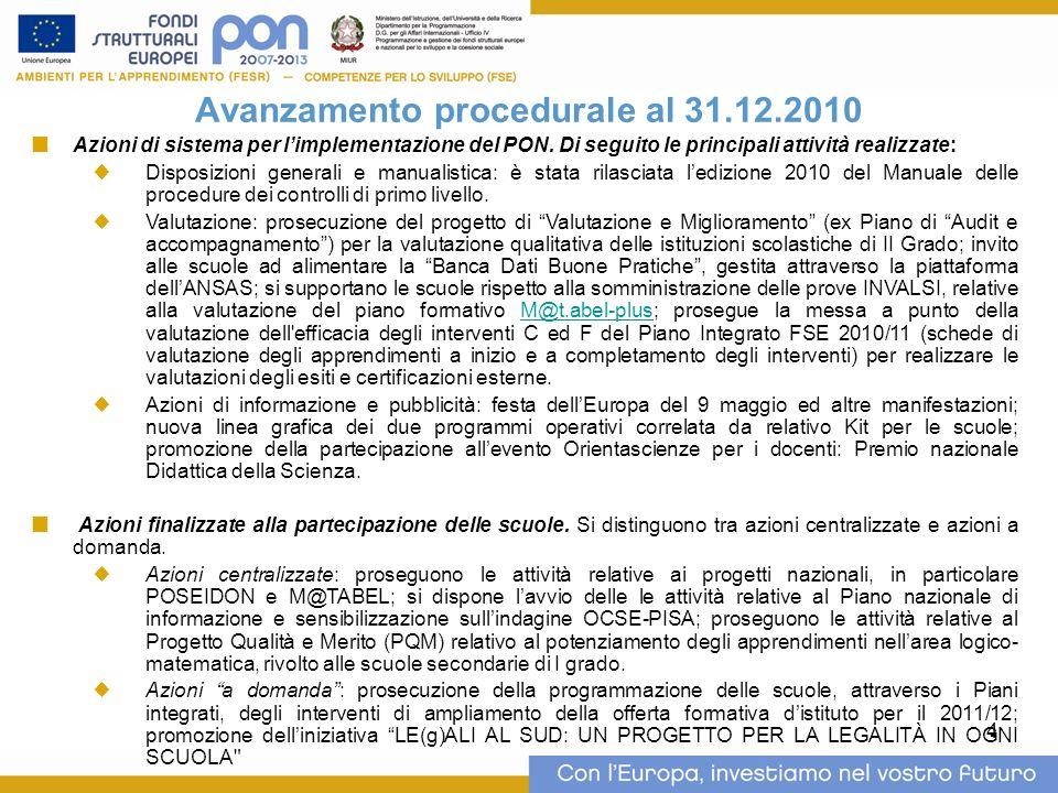 4 Avanzamento procedurale al 31.12.2010 Azioni di sistema per limplementazione del PON.