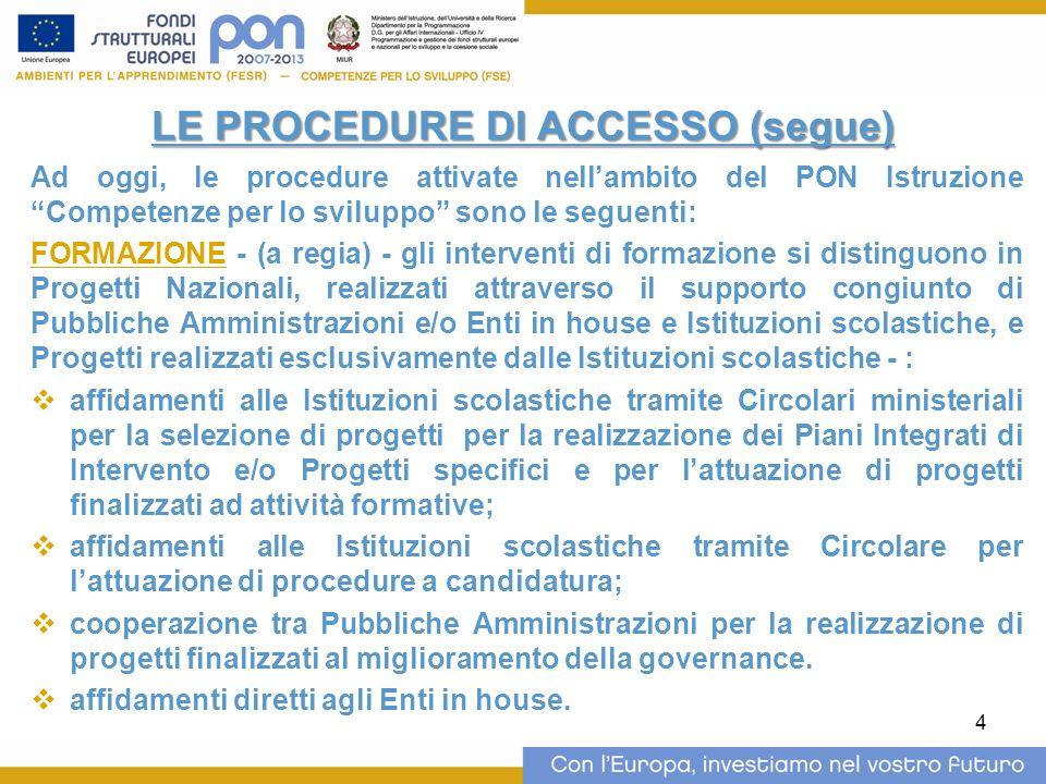 4 LE PROCEDURE DI ACCESSO (segue) Ad oggi, le procedure attivate nellambito del PON Istruzione Competenze per lo sviluppo sono le seguenti: FORMAZIONE