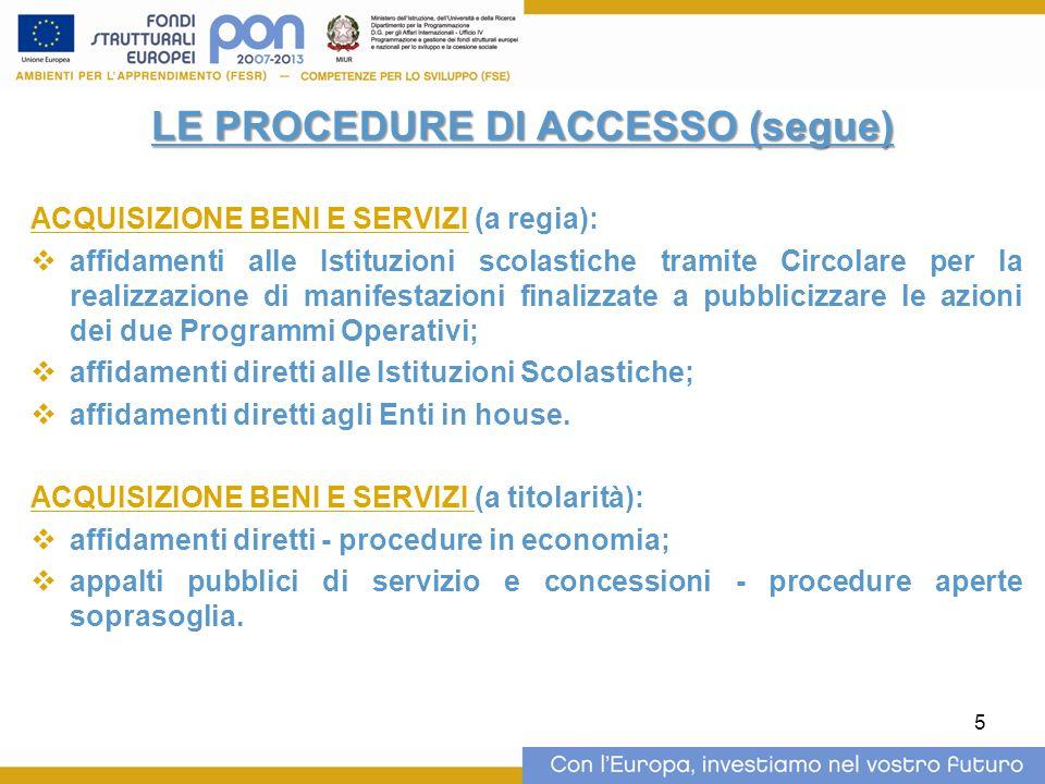 5 LE PROCEDURE DI ACCESSO (segue) ACQUISIZIONE BENI E SERVIZI (a regia): affidamenti alle Istituzioni scolastiche tramite Circolare per la realizzazio