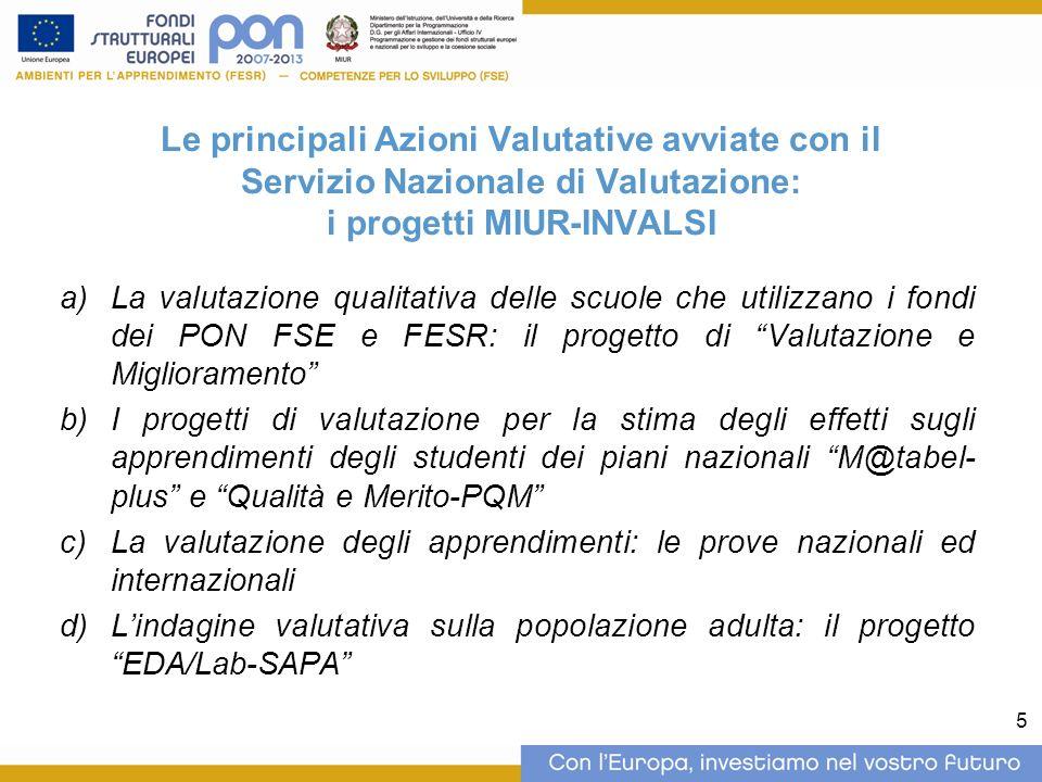 5 Le principali Azioni Valutative avviate con il Servizio Nazionale di Valutazione: i progetti MIUR-INVALSI La valutazione qualitativa delle scuole ch