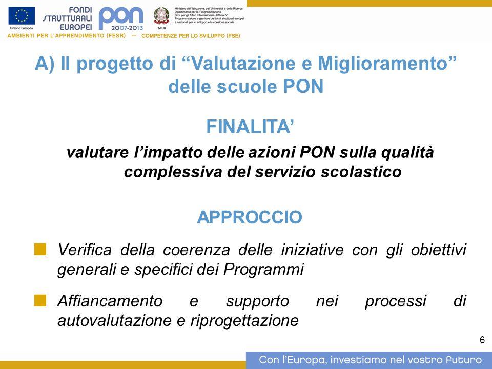 6 A) Il progetto di Valutazione e Miglioramento delle scuole PON FINALITA valutare limpatto delle azioni PON sulla qualità complessiva del servizio sc