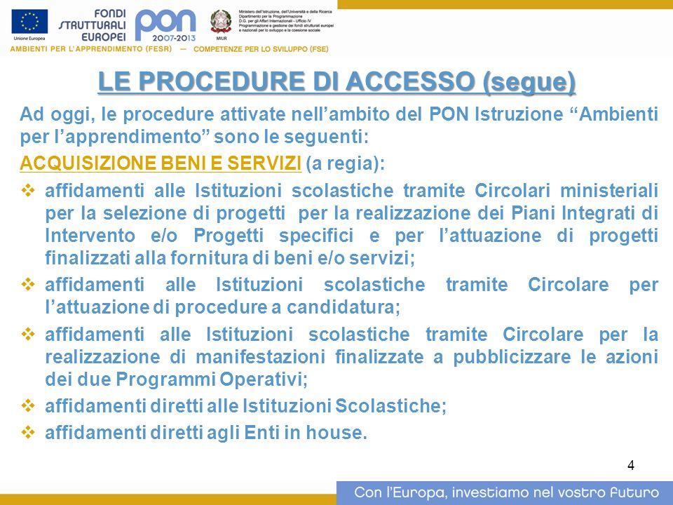 4 LE PROCEDURE DI ACCESSO (segue) Ad oggi, le procedure attivate nellambito del PON Istruzione Ambienti per lapprendimento sono le seguenti: ACQUISIZI