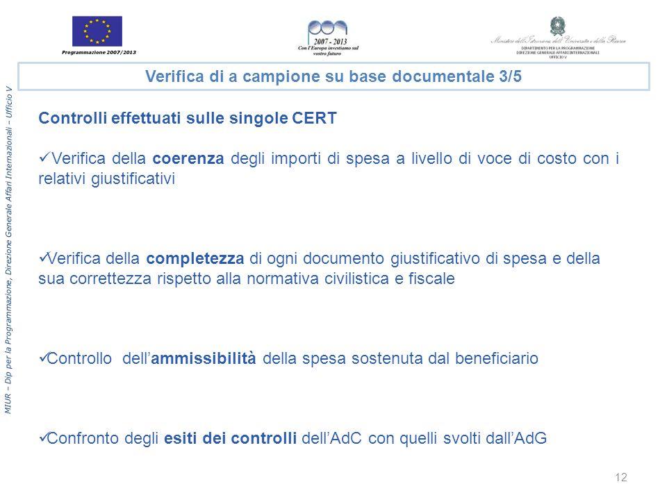 MIUR – Dip per la Programmazione, Direzione Generale Affari Internazionali – Ufficio V Verifica di a campione su base documentale 3/5 Controlli effett