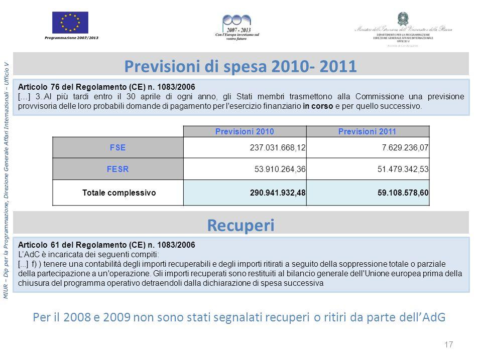 MIUR – Dip per la Programmazione, Direzione Generale Affari Internazionali – Ufficio V Previsioni di spesa 2010- 2011 Recuperi Per il 2008 e 2009 non