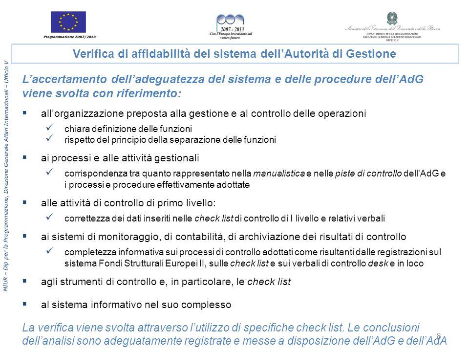 MIUR – Dip per la Programmazione, Direzione Generale Affari Internazionali – Ufficio V Laccertamento delladeguatezza del sistema e delle procedure del