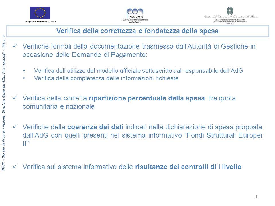 MIUR – Dip per la Programmazione, Direzione Generale Affari Internazionali – Ufficio V Verifiche formali della documentazione trasmessa dallAutorità d