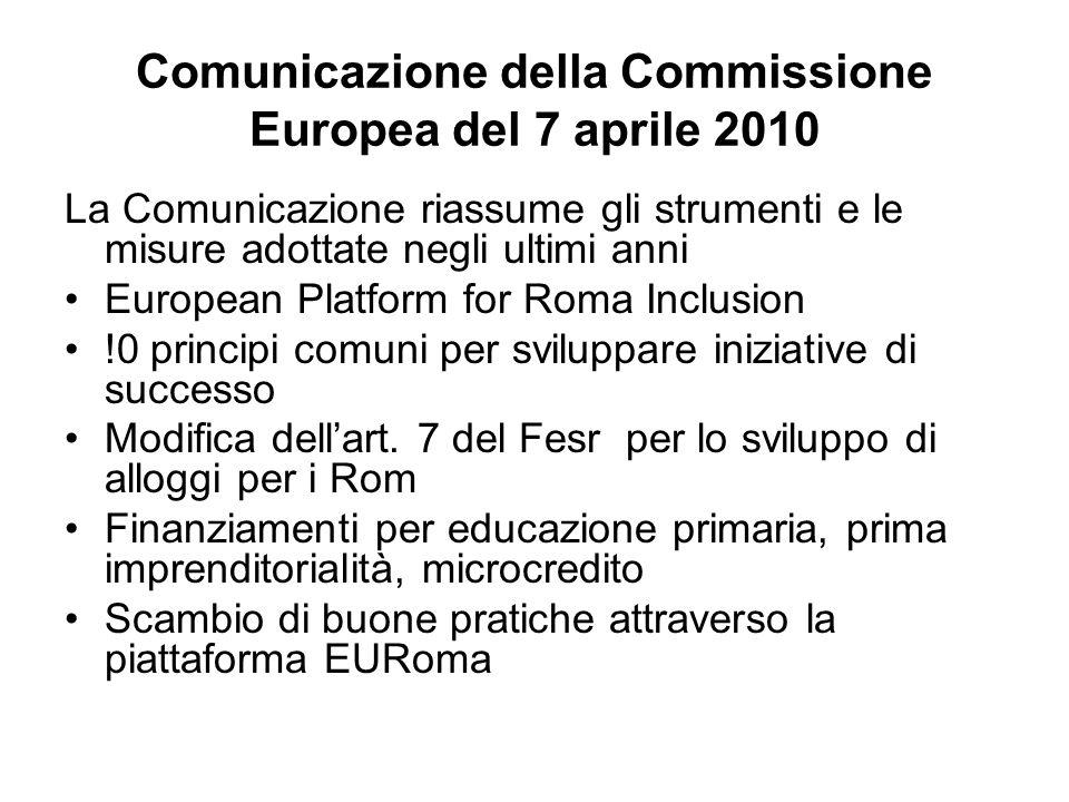 Comunicazione della Commissione Europea del 7 aprile 2010 La Comunicazione riassume gli strumenti e le misure adottate negli ultimi anni European Platform for Roma Inclusion !0 principi comuni per sviluppare iniziative di successo Modifica dellart.