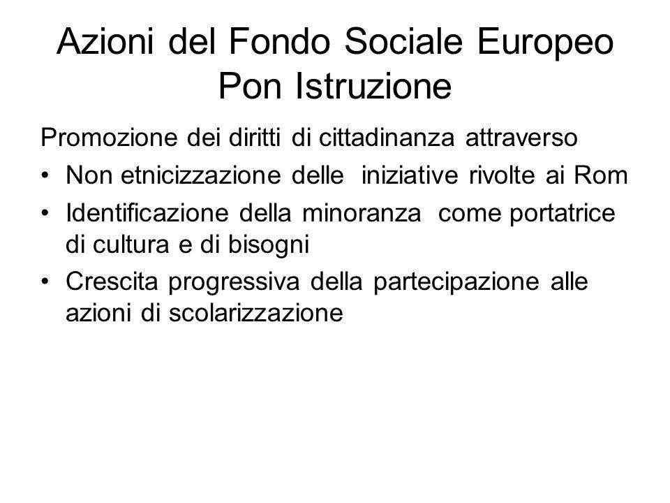Azioni del Fondo Sociale Europeo Pon Istruzione Promozione dei diritti di cittadinanza attraverso Non etnicizzazione delle iniziative rivolte ai Rom I