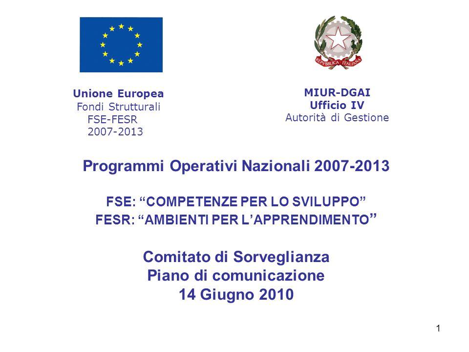 1 Programmi Operativi Nazionali 2007-2013 FSE: COMPETENZE PER LO SVILUPPO FESR: AMBIENTI PER LAPPRENDIMENTO Comitato di Sorveglianza Piano di comunica
