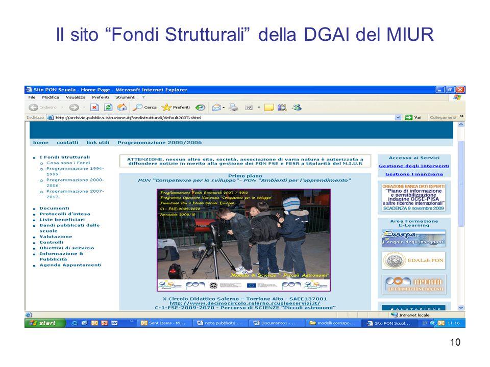10 Il sito Fondi Strutturali della DGAI del MIUR