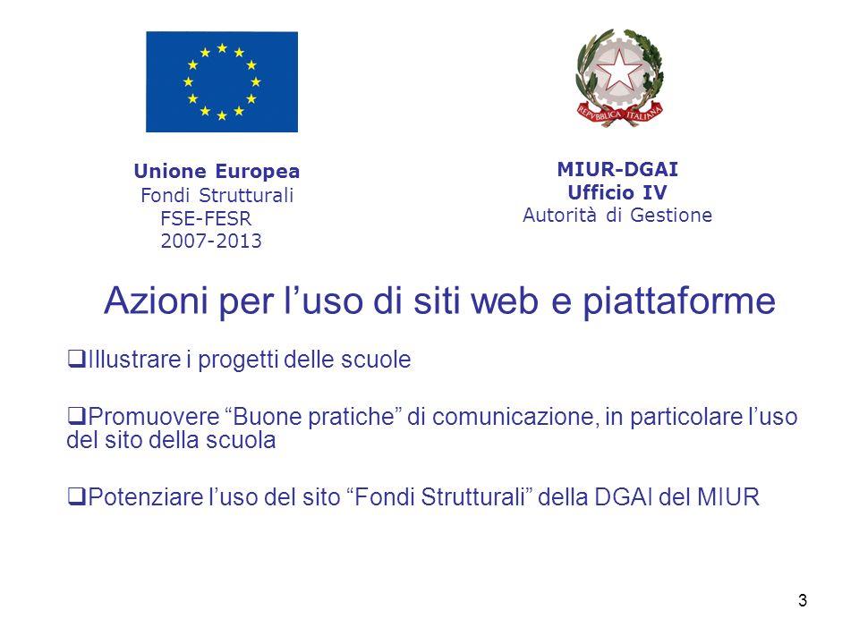 3 Azioni per luso di siti web e piattaforme Illustrare i progetti delle scuole Promuovere Buone pratiche di comunicazione, in particolare luso del sito della scuola Potenziare luso del sito Fondi Strutturali della DGAI del MIUR Unione Europea Fondi Strutturali FSE-FESR 2007-2013 MIUR-DGAI Ufficio IV Autorità di Gestione