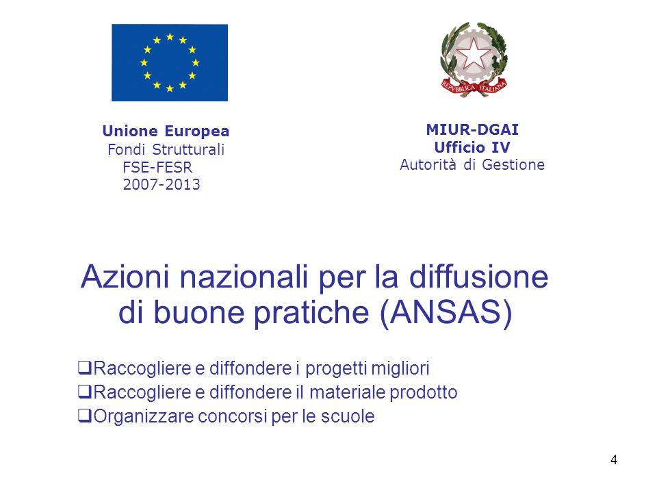 4 Azioni nazionali per la diffusione di buone pratiche (ANSAS) Raccogliere e diffondere i progetti migliori Raccogliere e diffondere il materiale prod