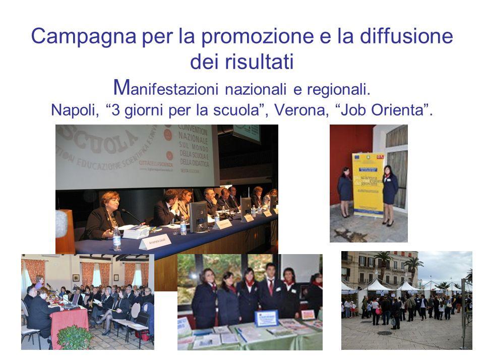 7 Campagna per la promozione e la diffusione dei risultati M anifestazioni nazionali e regionali. Napoli, 3 giorni per la scuola, Verona, Job Orienta.