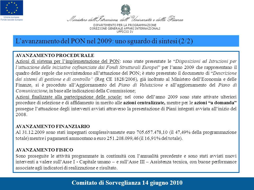 AVANZAMENTO PROCEDURALE Azioni di sistema per limplementazione del PON: sono state presentate le Disposizioni ed Istruzioni per lattuazione delle iniziative cofinanziate dai Fondi Strutturali Europei per lanno 2009 che rappresentano il quadro delle regole che sovrintendono allattuazione del PON; è stato presentato il documento di Descrizione dei sistemi di gestione e di controllo (Reg CE 1828/2006), già inoltrato al Ministero dellEconomia e delle Finanze, si è proceduto allAggiornamento del Piano di Valutazione e allaggiornamento del Piano di Comunicazione, in base alle indicazioni della Commissione; Azioni finalizzate alla partecipazione delle scuole: nel corso dellanno 2009 sono state attivate ulteriori procedure di selezione e di affidamento in merito alle azioni centralizzate, mentre per le azioni a domanda prosegue lattuazione degli interventi avviati attraverso la presentazione di Piani integrati avviata allinizio del 2008.