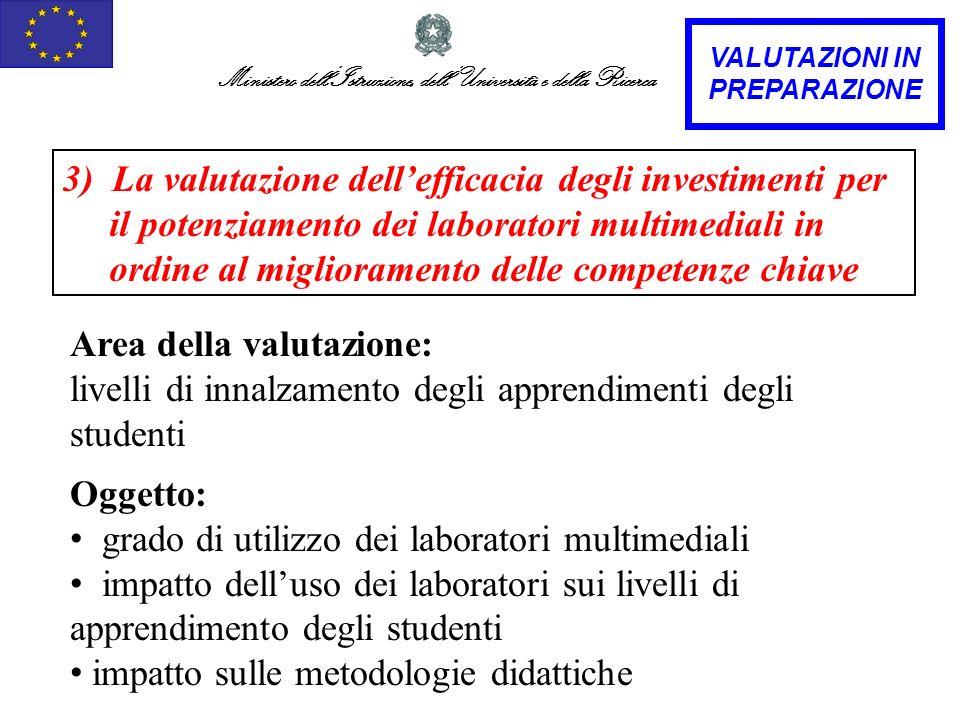 Ministero dellIstruzione, dellUniversità e della Ricerca 3) La valutazione dellefficacia degli investimenti per il potenziamento dei laboratori multim