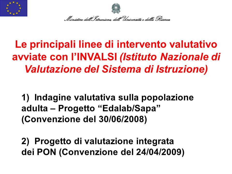1) Indagine valutativa sulla popolazione adulta – Progetto Edalab/Sapa (Convenzione del 30/06/2008) Ministero dellIstruzione, dellUniversità e della R