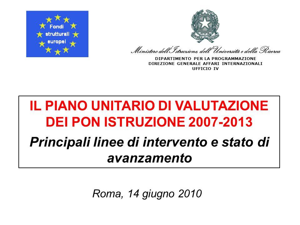 Ministero dellIstruzione, dellUniversità e della Ricerca DIPARTIMENTO PER LA PROGRAMMAZIONE DIREZIONE GENERALE AFFARI INTERNAZIONALI UFFICIO IV IL PIANO UNITARIO DI VALUTAZIONE DEI PON ISTRUZIONE 2007-2013 Principali linee di intervento e stato di avanzamento Roma, 14 giugno 2010