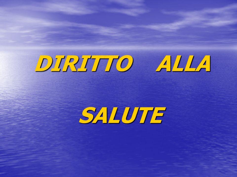 DIRITTO ALLA SALUTE DIRITTO ALLA SALUTE