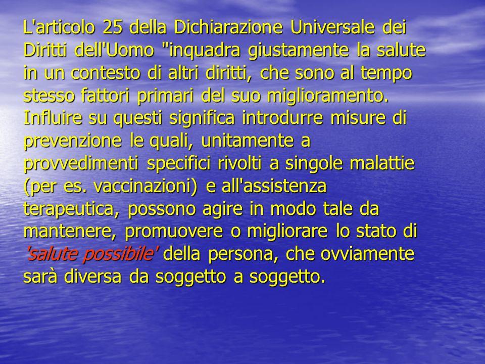 L'articolo 25 della Dichiarazione Universale dei Diritti dell'Uomo