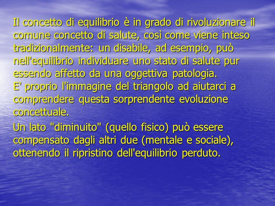 Il concetto di equilibrio è in grado di rivoluzionare il comune concetto di salute, così come viene inteso tradizionalmente: un disabile, ad esempio,