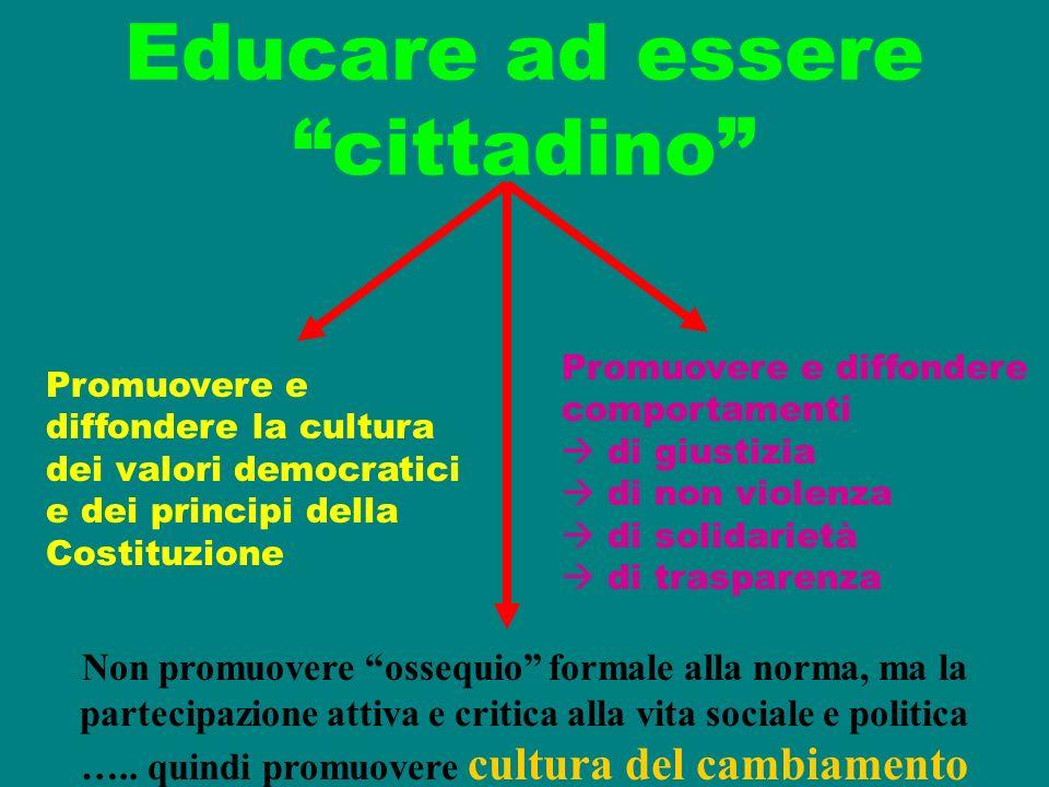 Educare ad essere cittadino Promuovere e diffondere la cultura dei valori democratici e dei principi della Costituzione Promuovere e diffondere compor