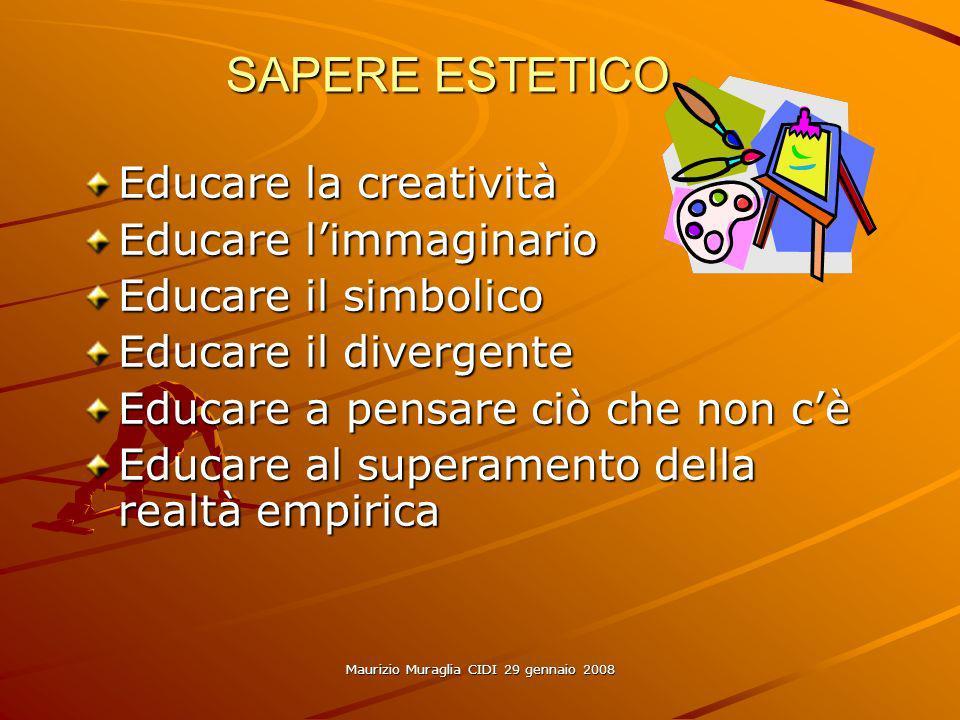Maurizio Muraglia CIDI 29 gennaio 2008 SAPERE ESTETICO Educare la creatività Educare limmaginario Educare il simbolico Educare il divergente Educare a pensare ciò che non cè Educare al superamento della realtà empirica