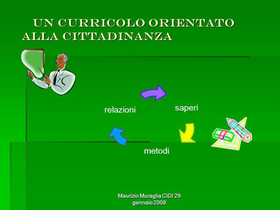 Maurizio Muraglia CIDI 29 gennaio 2008 un curricolo orientato alla cittadinanza un curricolo orientato alla cittadinanza saperi metodi relazioni