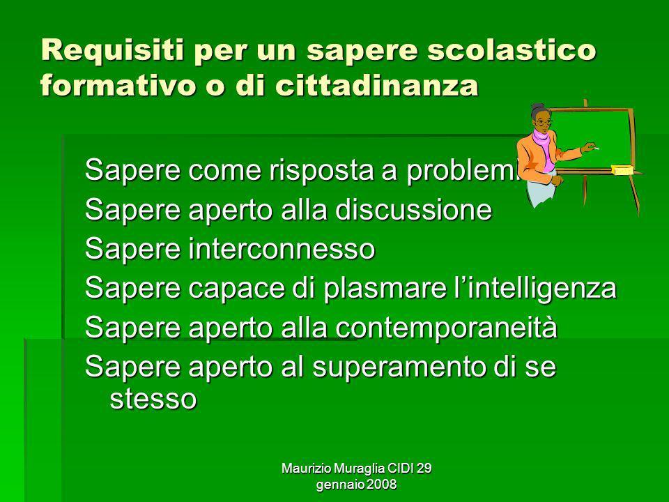 Maurizio Muraglia CIDI 29 gennaio 2008 Requisiti per un sapere scolastico formativo o di cittadinanza Sapere come risposta a problemi Sapere aperto al