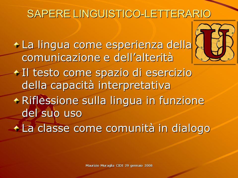 Maurizio Muraglia CIDI 29 gennaio 2008 SAPERE LINGUISTICO-LETTERARIO La lingua come esperienza della comunicazione e dellalterità Il testo come spazio