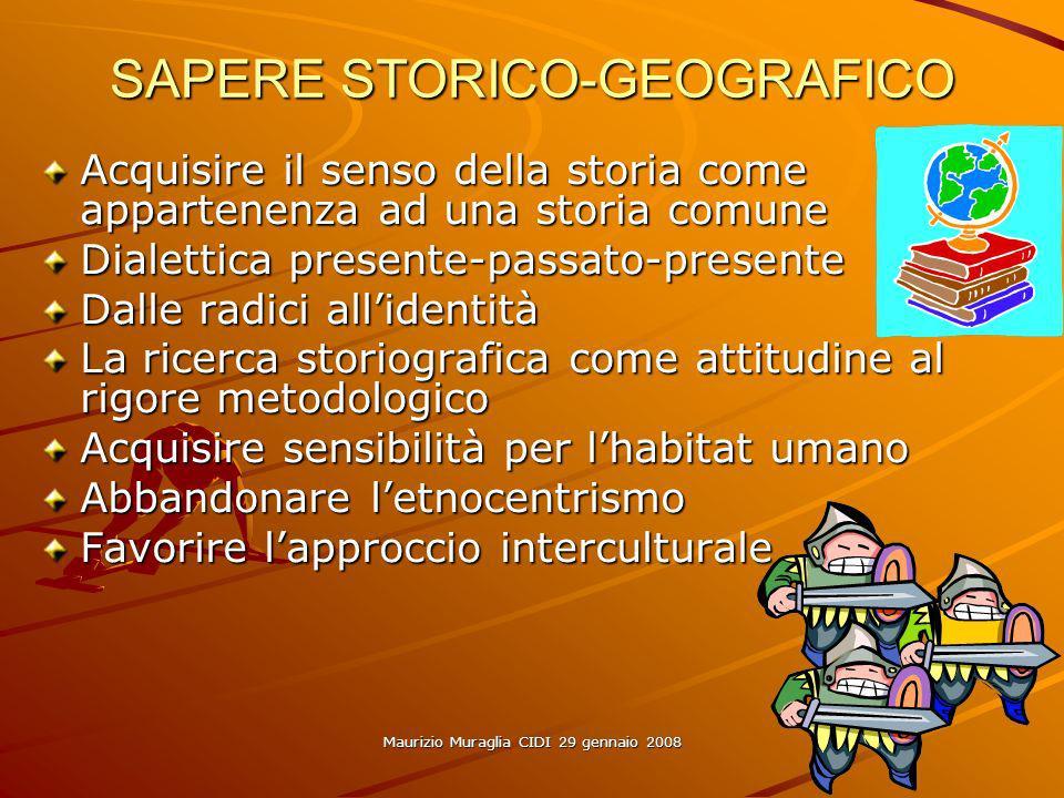 Maurizio Muraglia CIDI 29 gennaio 2008 SAPERE STORICO-GEOGRAFICO Acquisire il senso della storia come appartenenza ad una storia comune Dialettica pre